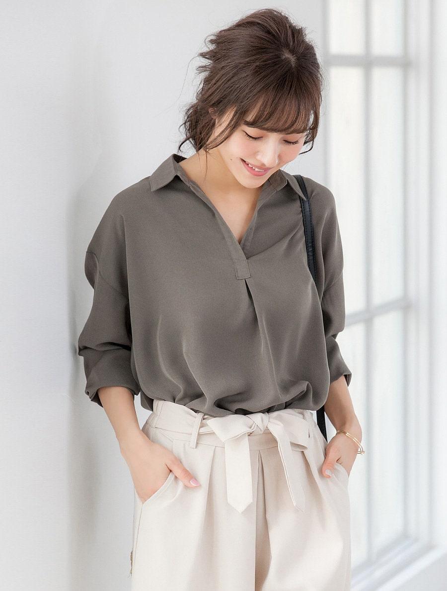 【fifth/フィフス】無地スキッパーシャツ