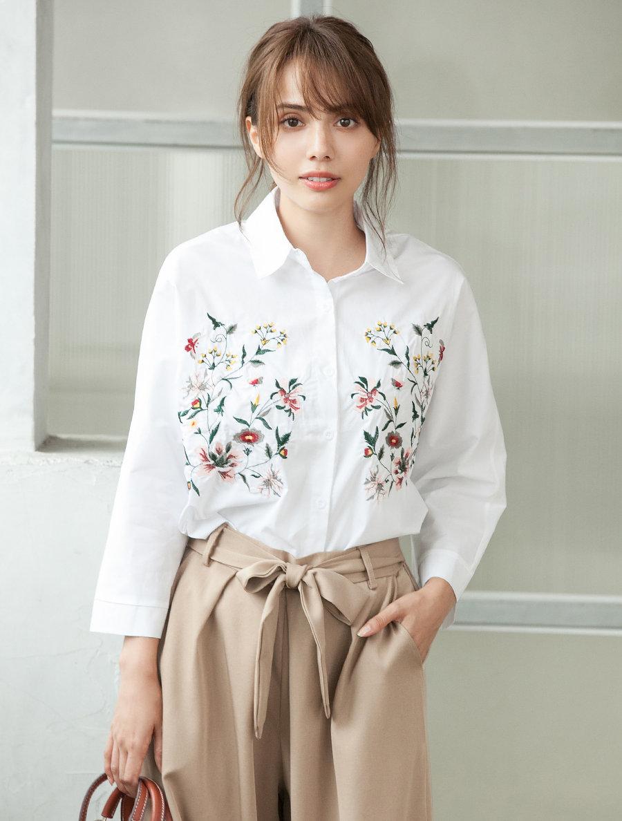 【fifth/フィフス】フラワー刺繍シャツ