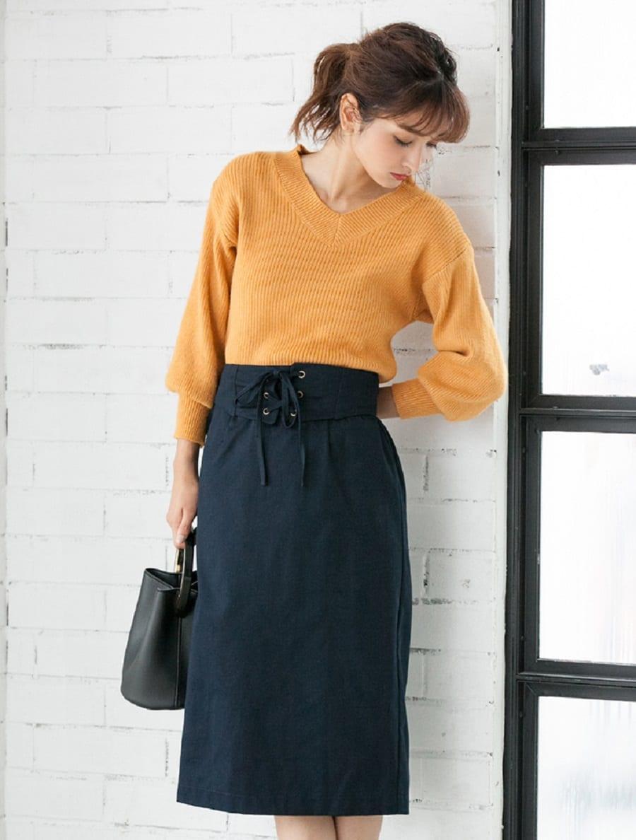 【fifth/フィフス】レースアップタイトスカート
