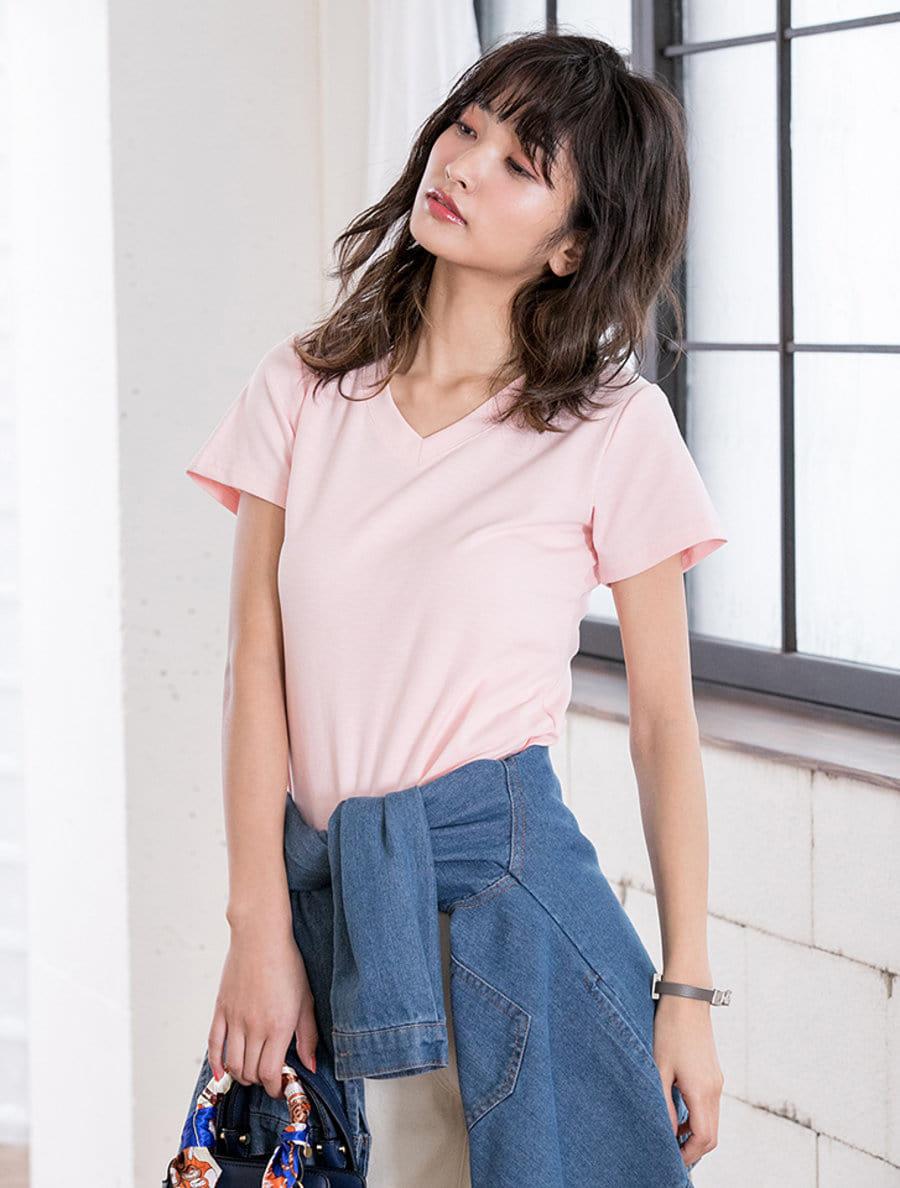 【fifth/フィフス】VネックストレッチコンパクトTシャツ
