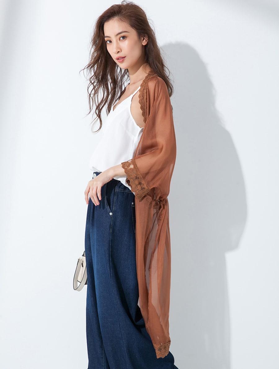 【fifth/フィフス】フラワー刺繍ロングレースガウン